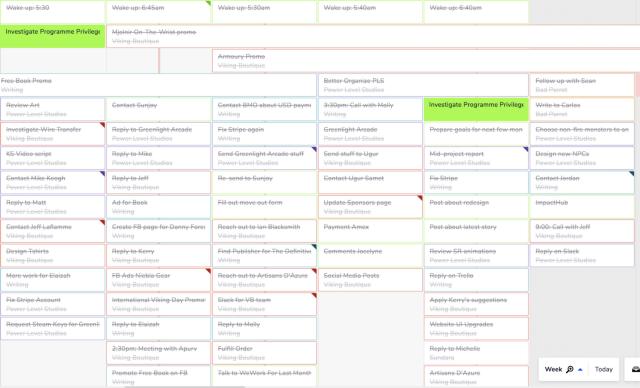 Teamweek screenshot of one of my recent work week