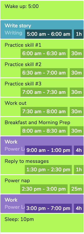 Screencap of my schedule on Teamweek