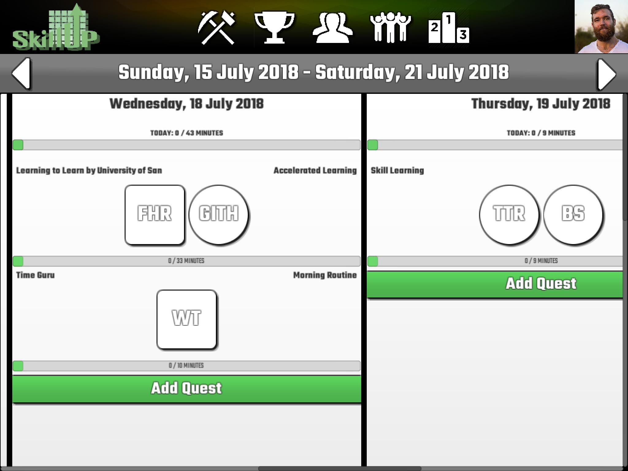 Early screenshot of App prototype.