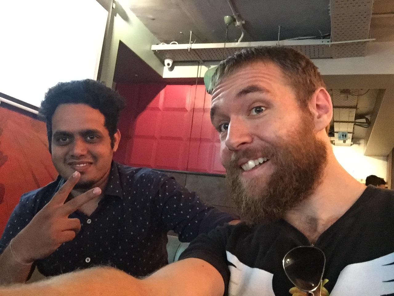 Prithviraj and I at a Café in Bangalore, India