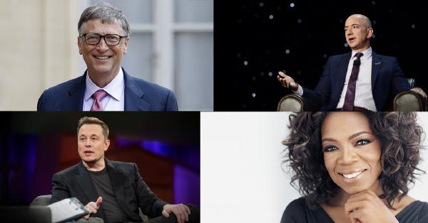 From top-left to bottom-right:  Bill Gates ,  Jeff Bezos ,  Elon Musk , and  Oprah Winfrey