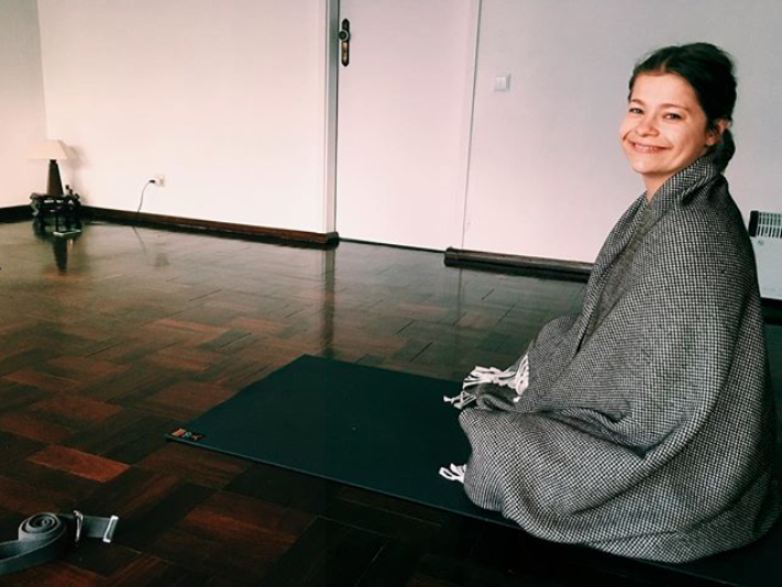 This is Karina at the beginning of this year in Estoril, Portugal, coming for a yoga class.