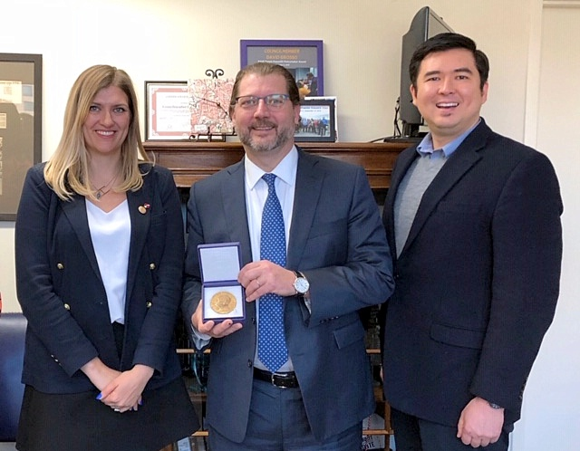 ICAN Executive Director Beatrice Fihn, DC Councilmember David Grosso, and Director of Public Affairs for Soka Gakkai International-USA, Danny Hall