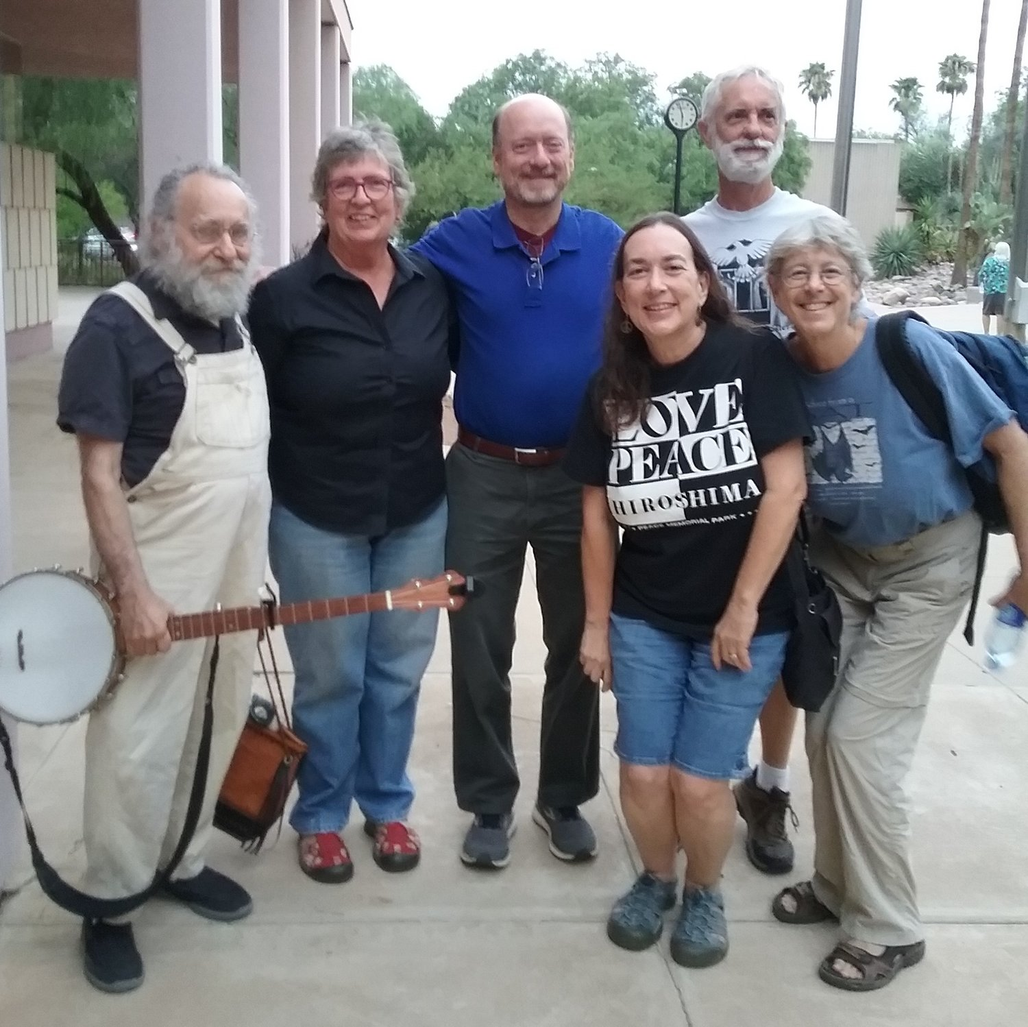 #banjoguy Ted Warmbrand, Kathy Altman and Russ Lowes of PSR-Arizona, Felice and Jack Cohen-Joppa from the Nuclear Resister, and Ivy Schwartz of PSR-Arizona