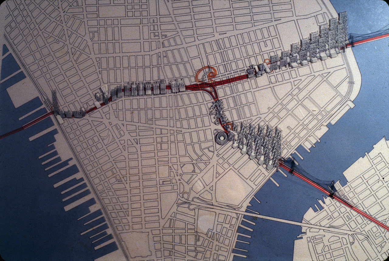 Rudolph's proposal for the Lower Manhattan Expressway. Image: Paul Rudolph Heritage Foundation