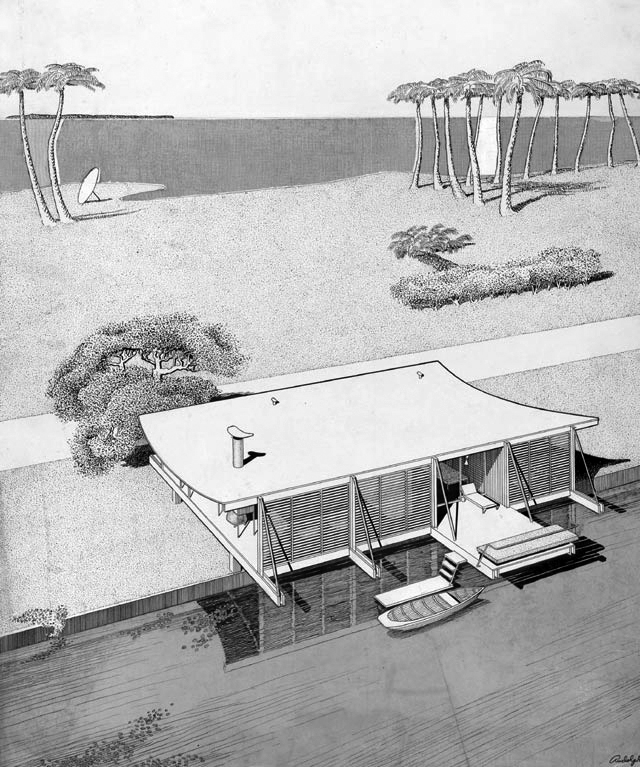 Paul Rudolph's rendering of the exterior. Image: Paul Rudolph Heritage Foundation