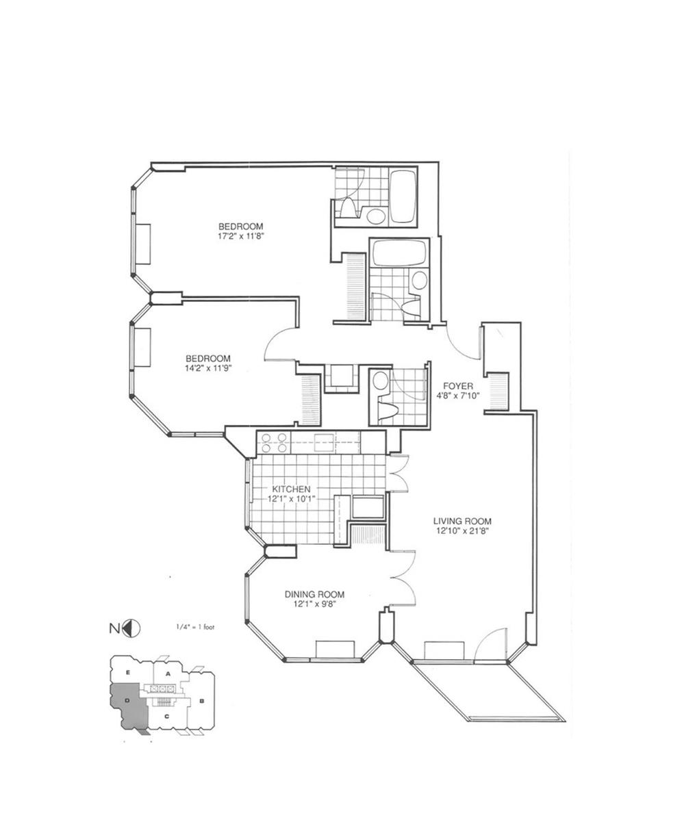 Floor plan showing the parallelogram shape of the balconies. Image: Douglas Elliman