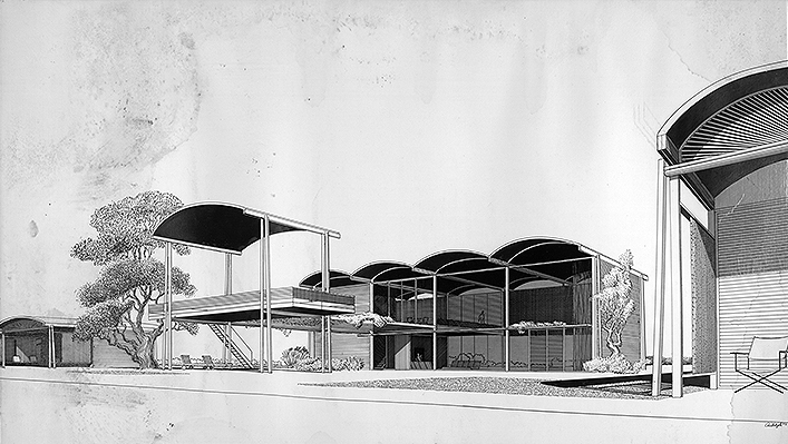 Rudolph's rendering of the final scheme. Image: Paul Rudolph Heritage Foundation Archives