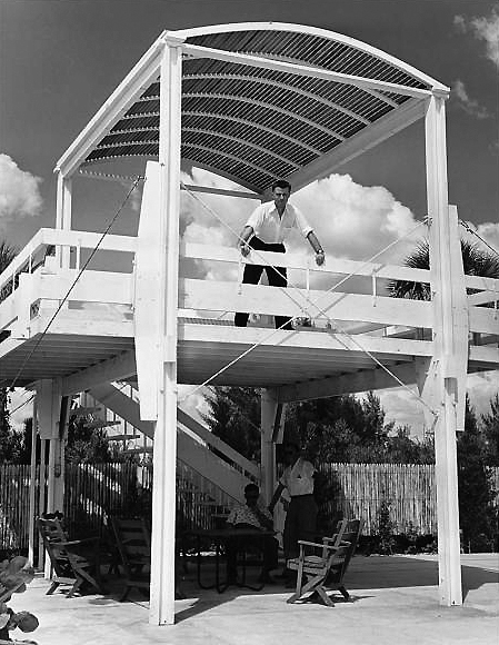 Paul Rudolph looking out from the constructed observatory. Photo: Library of Congress