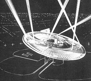 "Drawing of night view (with spotlights). Image: "" Remembering the Future,""  "" Something for Everyone: Robert Moses and the Fair "" by Marc H. Miller, published to accompany the 1989 Queens Museum exhibition "" Remembering the Future: The New York World's Fair from 1939 to 1964."""