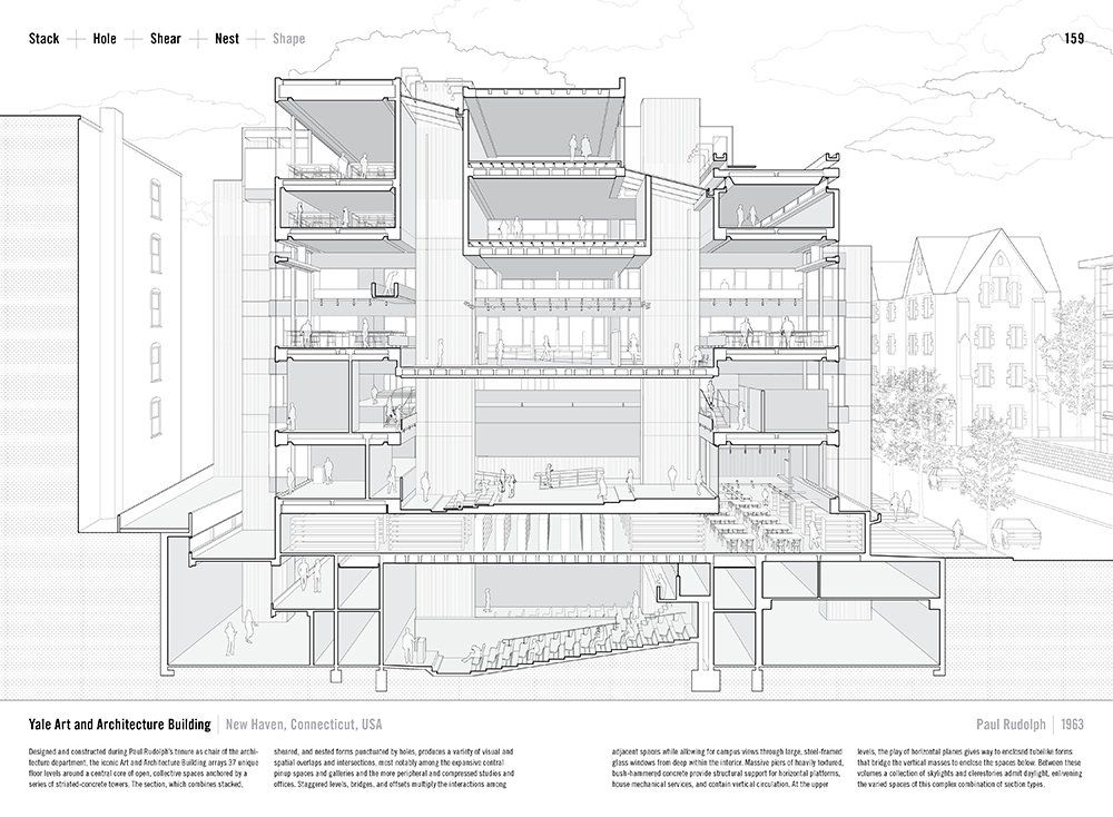 Section of Paul Rudolph's Art & Architecture Building (now Rudolph Hall). Image: Paul Lewis, Marc Tsurumaki, and David J. Lewis from  Manual of Section .