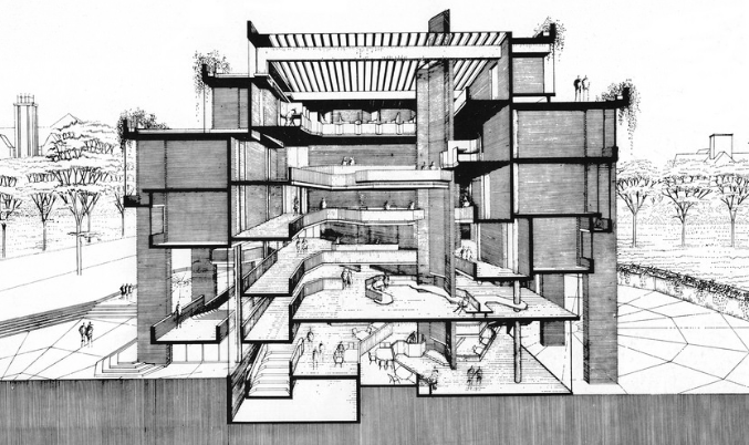 Rudolph's unbuilt Wayne State University Humanities Building. Image: Paul Rudolph Heritage Foundation Archives