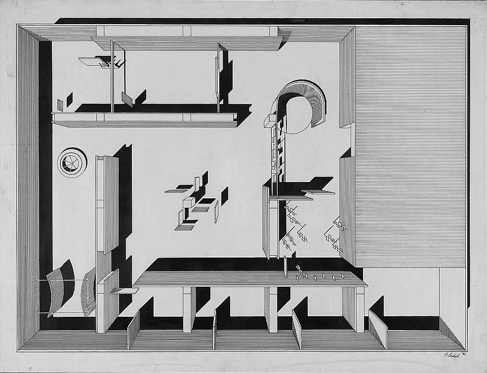 Paul Rudolph's plan-perspective drawing for the layout for the Museum of Modern Art's   Family of Man   photography exhibition, which opened in 1955. Image: Library of Congress