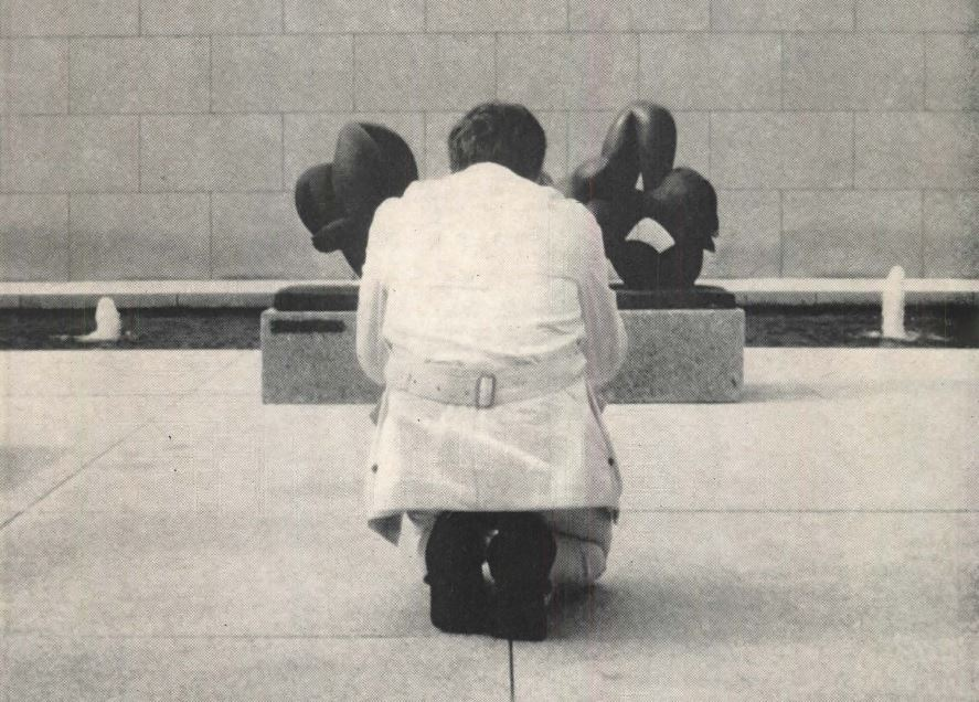 Is reverence for Mies going too far? Actually, it's architect Craig Ellwood at Mies van der Rohe's National Gallery museum building in Berlin (caught while photographing a sculpture.) Photo: Architectural Forum, November 1968