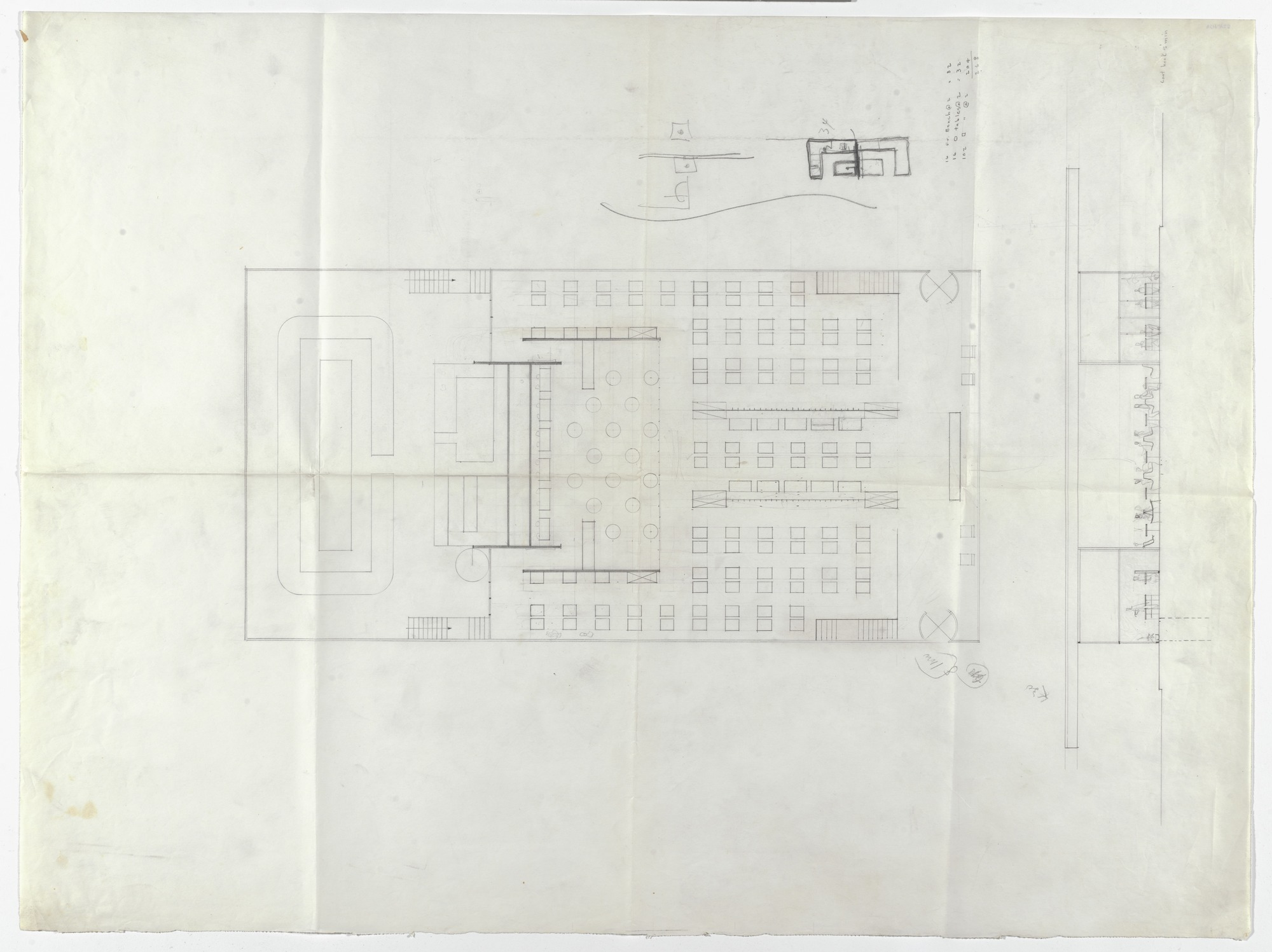 "Floor plan and elevation of a drive-in: the Cantor ""HIWAY"" restaurant, designed by Mies Van der Rohe, pencil on tracing paper, circa 1945-1950. Image: The Museum of Modern Art"