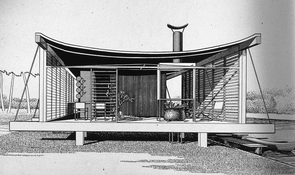 "Paul Rudolph's perspective rendering of the Healy Guest House (also known at the ""Cocoon House""), with its suspended, catenary curve roof. It was built in Siesta Key, Florida. Image: Paul Rudolph Heritage Foundation"