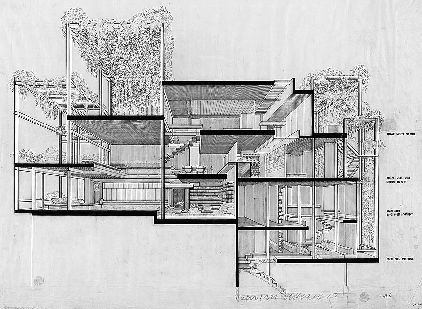 Rudolph's rendering of 23 Beekman Place in section. Image: Library of Congress
