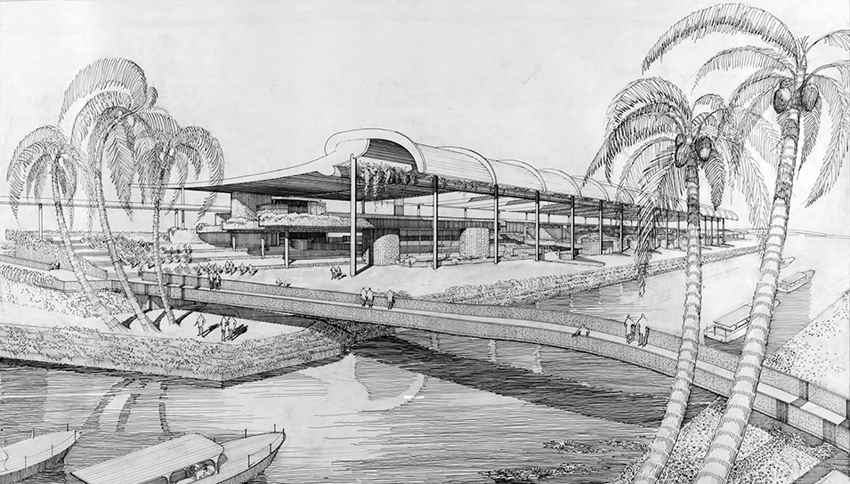 Rudolph's design for the bazaar-market building, part of the Inter-American Center (also known as the Interama) project, which was envisioned for the Miami area of Florida. Image: Library of Congress