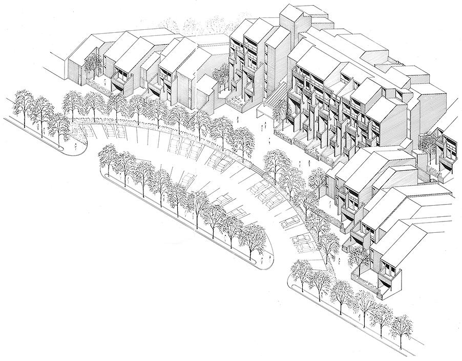 Buffalo Waterfront Housing Project (Shoreline Apartments).  Building Axonometric Rendering.