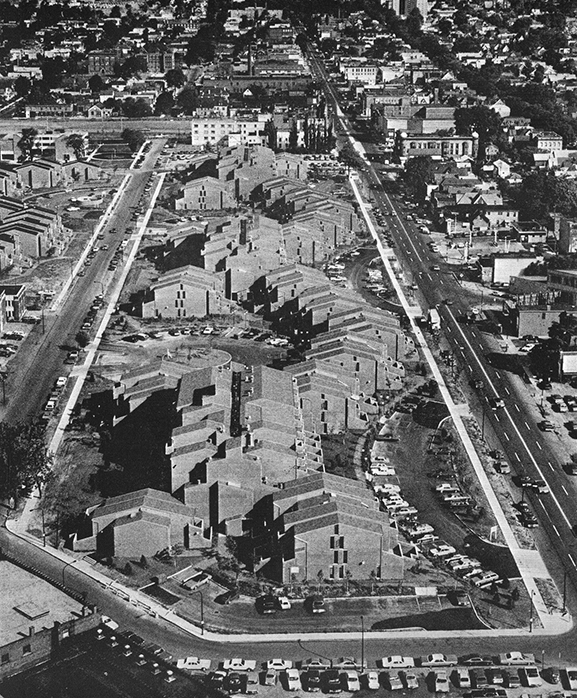 Aerial view from the southeast