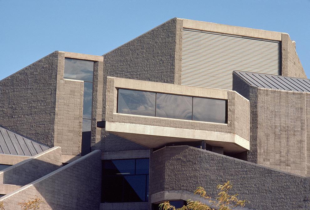 Niagara Falls Public Library.  Building Exterior.  Photo taken between 1973-1974.