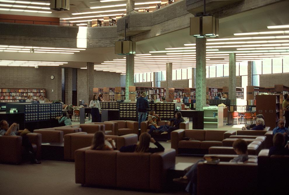 Niagara Falls Public Library.  Building Interior.  Photo taken between 1973-1974.