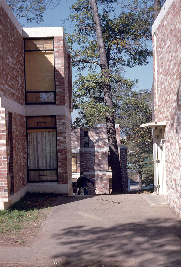 Yale Married Student Housing.  Building Exterior. Photo taken between 1960-1961.