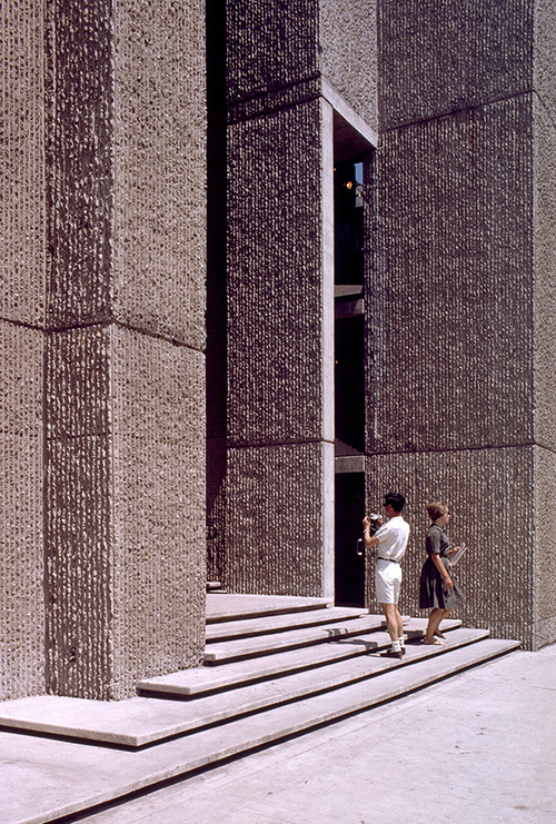 Yale Art & Architecture Building.  Building Exterior. Photo taken between 1961-1963.