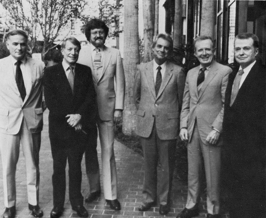 "Rudolph with other founders of the ""Sarasota School,"" at the 1982 FA/AIA DESIGN CONFERENCE in Tampa, Florida. From left-to-right: Victor Lundy, Gene Leedy, William Rupp, Tim Siebert, Bert Brosmith, and Paul Rudolph.    Image: courtesy of FLORIDA ARCHITECT, Winter 1983"
