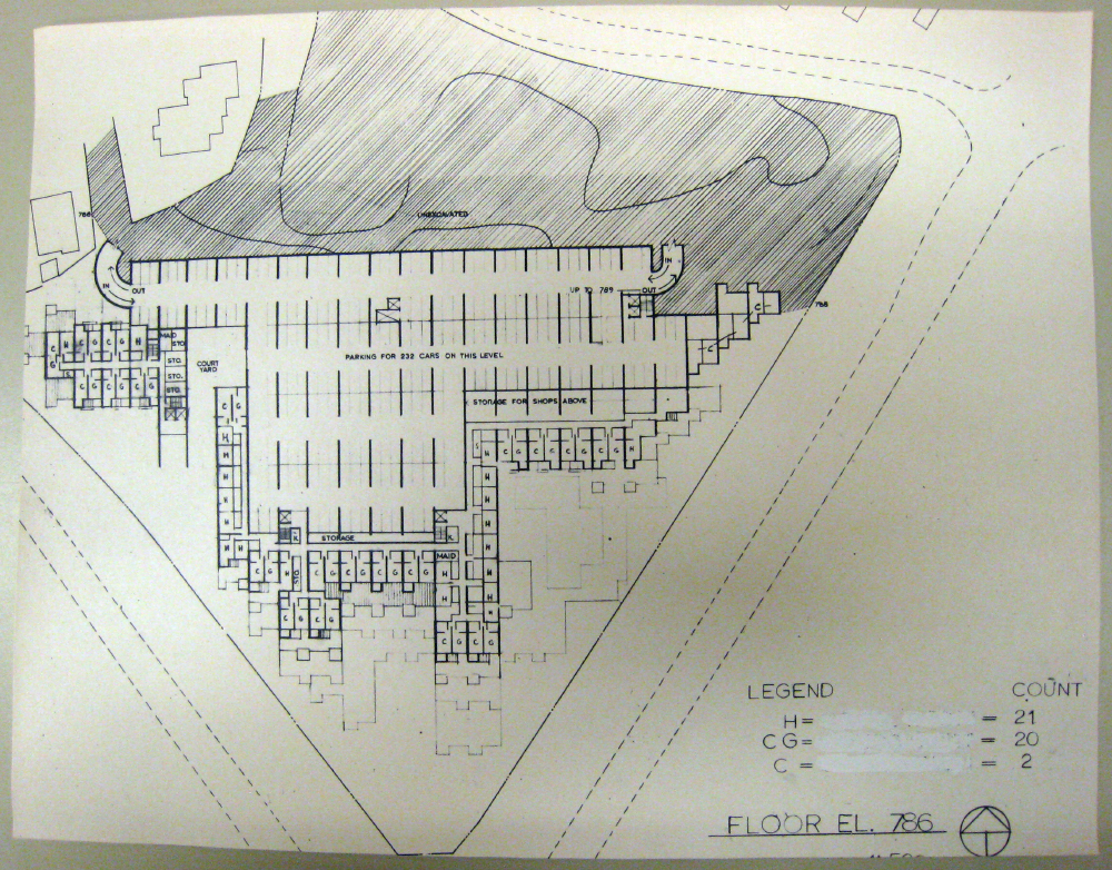 Jerusalem Apartment-Hotel Complex. Floor Plan at Elevation 786.  Presentation.