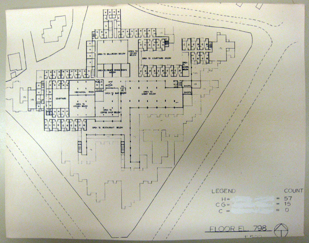 Jerusalem Apartment-Hotel Complex. Floor Plan at Elevation 798.  Presentation.