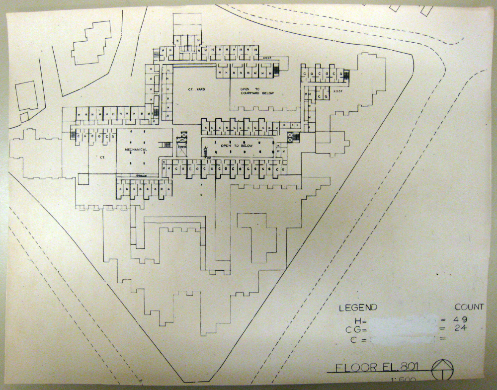 Jerusalem Apartment-Hotel Complex. Floor Plan at Elevation 801.  Presentation.