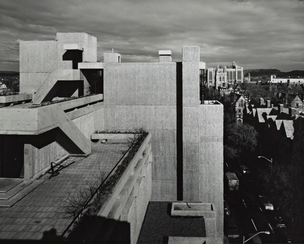 Yale Art & Architecture Building.  Building Exterior.  Photo taken in 1963.