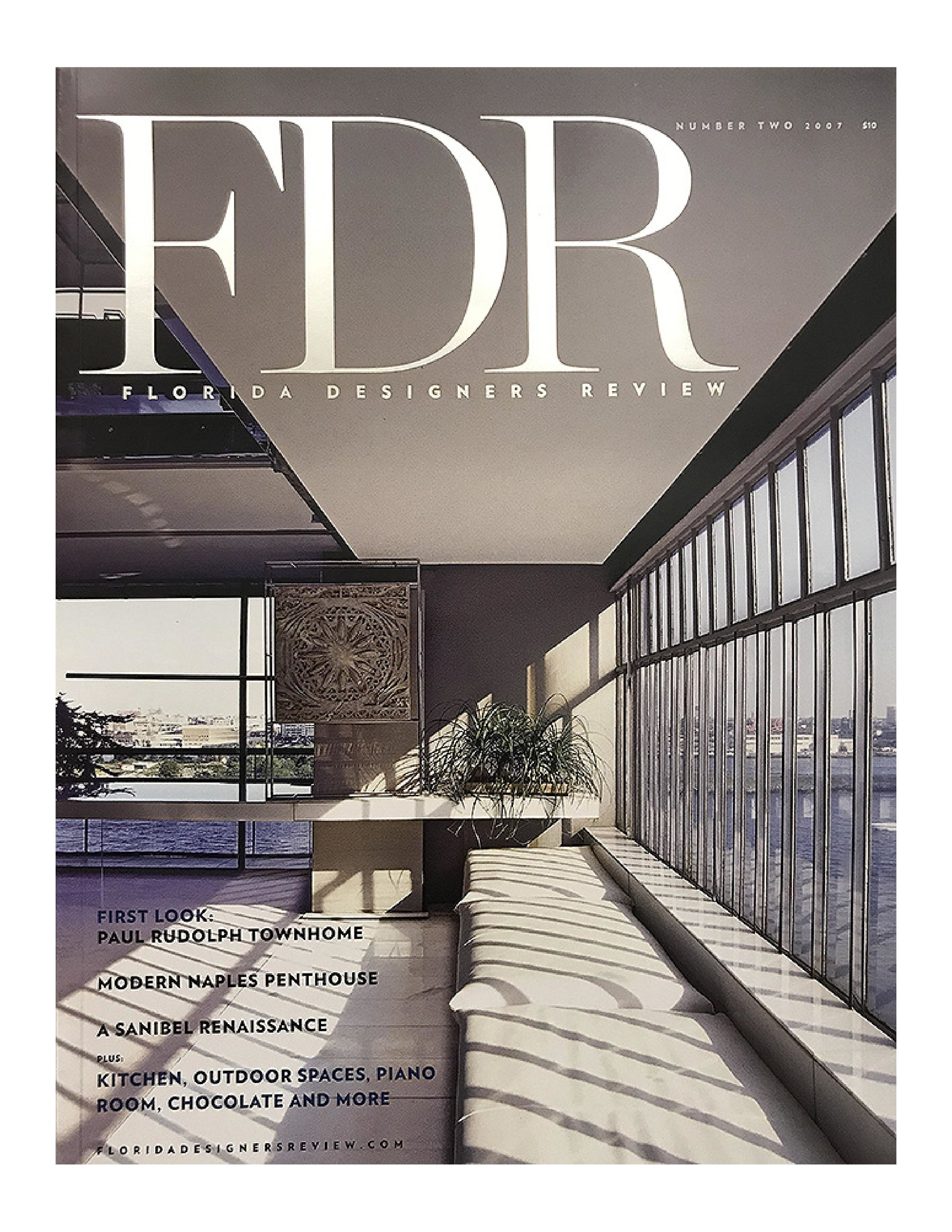 "The cover of FDR: FLORIDA DESIGN REVIEW, showing the living room of Paul Rudolph's multi-level apartment in New York City. That issue's coverage was the most comprehensive (and best photographed) article to ever appear about this most personal of Rudolph's architectural works. The magazine is now out-of-print, but copies are available through the Paul Rudolph Heritage Foundation's    ""Shop""    page."