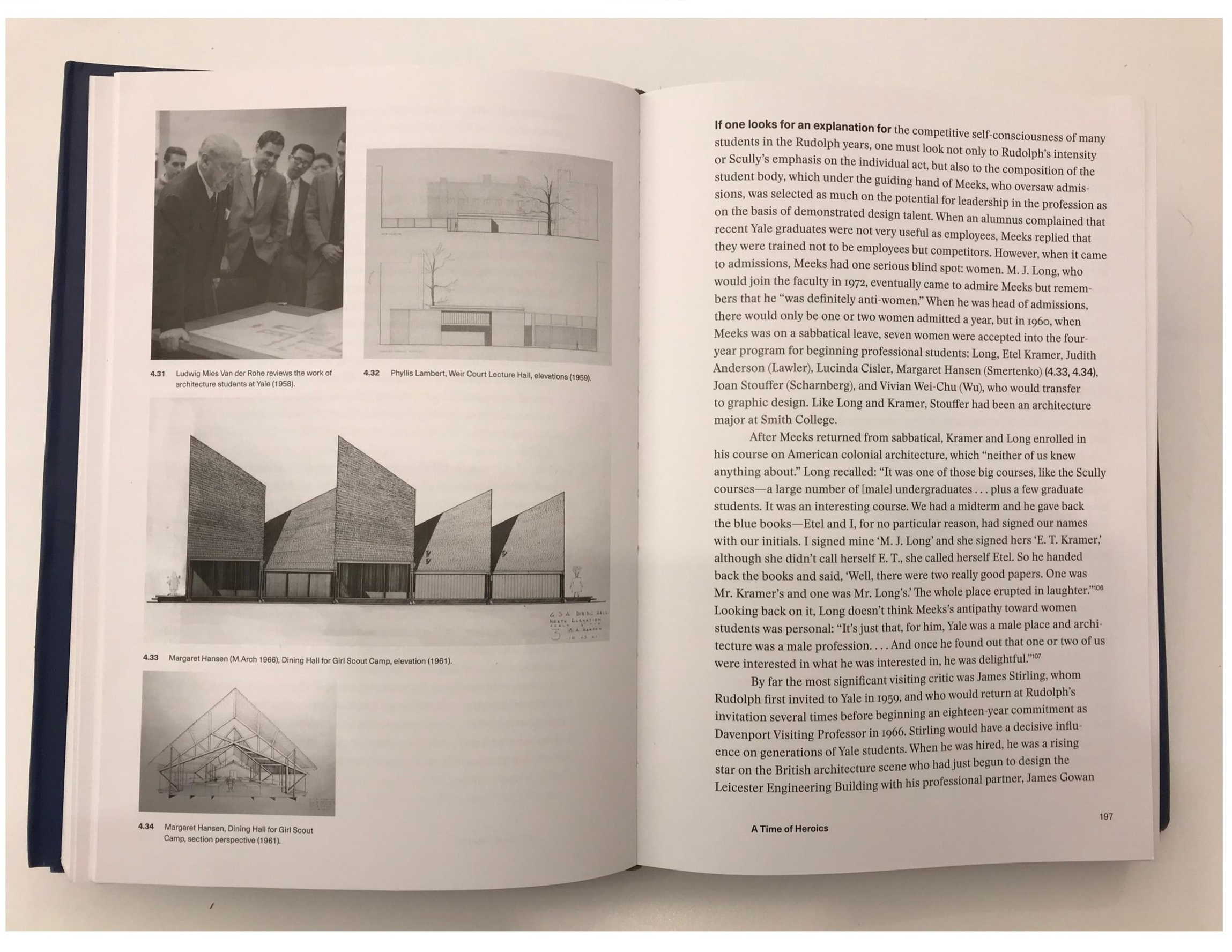 "At the upper-left is a photo of Mies van der Rohe, taken during in 1958 during a review of student work at Yale.    Image: The picture, by James Righter, is as shown on a spread from ""Pedagogy and Place"" by Robert A. M. Stern and Jimmy Stamp—the authoritative book on the history of the architecture program at Yale."