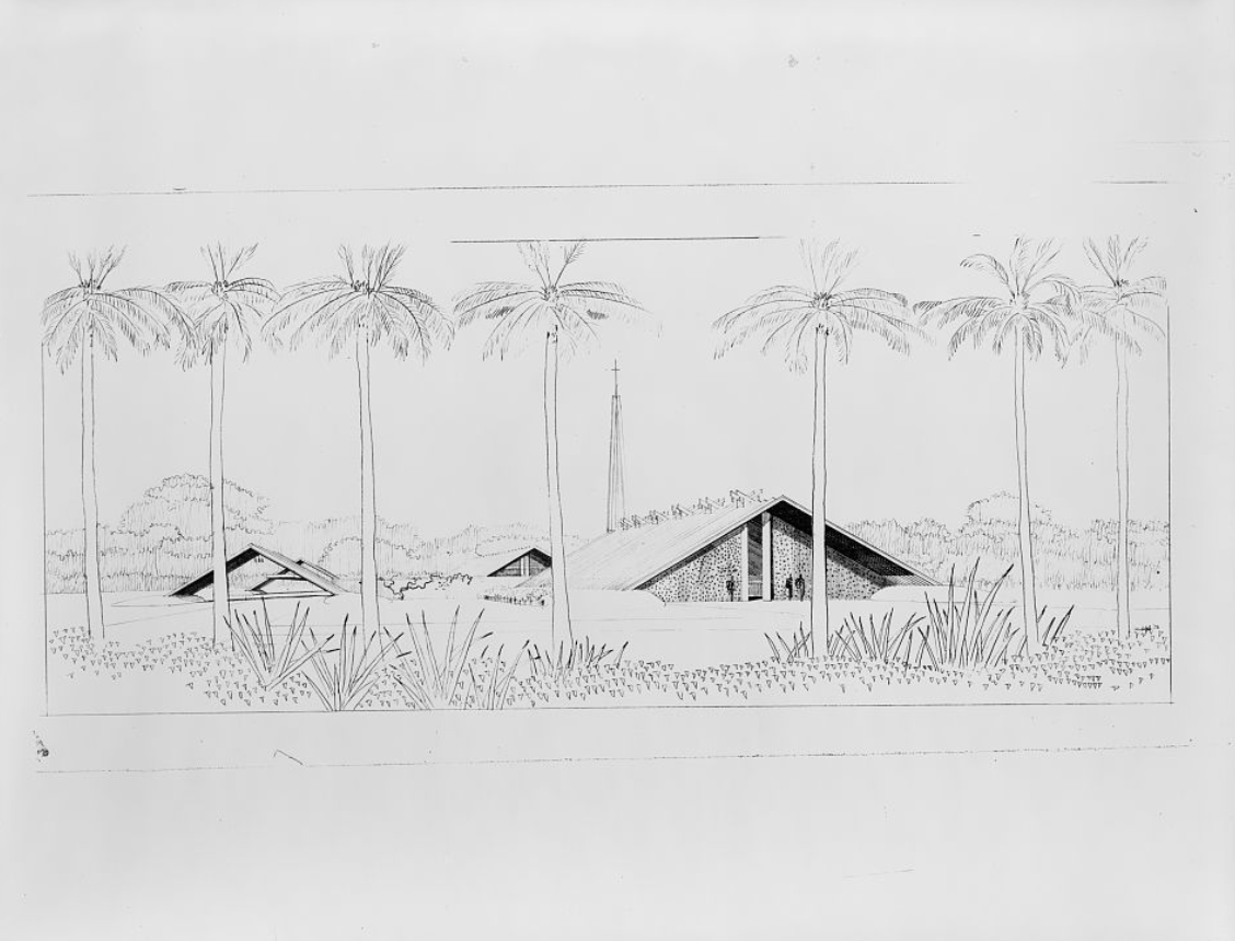 Rudolph's perspective drawings of a design for the St. Boniface Episcopal Church, a 1956 project for Siesta Key, Florida. Image: Paul Rudolph Archive, Library of Congress – Prints and Photographs Division