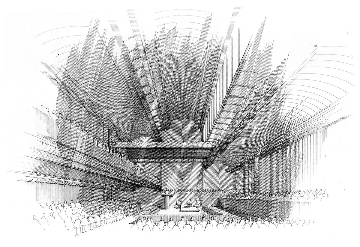 Paul Rudolph's Interior perspective-rendering of his  Cannon Chapel , at Emory University. This commission may have been very meaningful to Rudolph: his father, Reverend Keener Rudolph, was in Emory theology school's first graduating class. Image: This original pen & ink drawing is in the collection of Ernst Wagner, Founder of the Paul Rudolph Heritage Foundation.