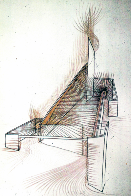 Spatial power: Paul Rudolph's analytical drawing of his Tuskegee Chapel.  Image: Paul Rudolph Archive, Library of Congress – Prints and Photographs Division