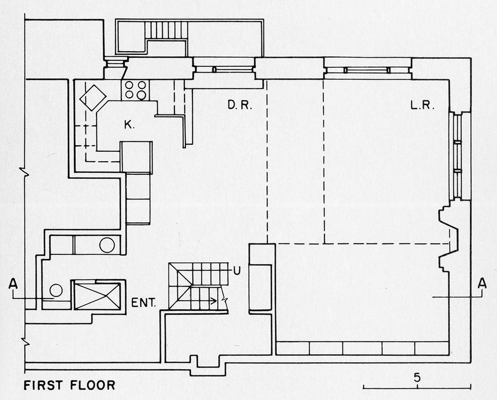 Steichen Residence. First Floor Plan.  Presentation.