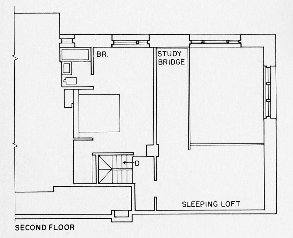 Steichen Residence. Second Floor Plan.  Presentation.