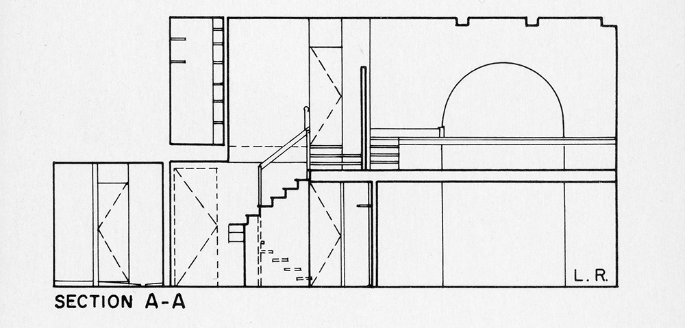 Steichen Residence. Section 'A-A'.  Presentation.