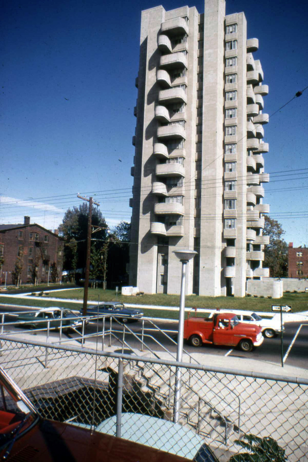 Crawford Manor Housing for the Elderly.  Building Exterior.  Photo taken in 1962.