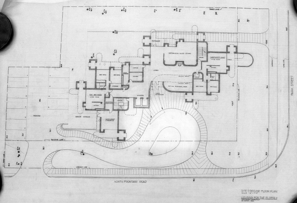 Crawford Manor Housing for the Elderly.  Ground Floor Site Plan.  Dated August 29, 1962.