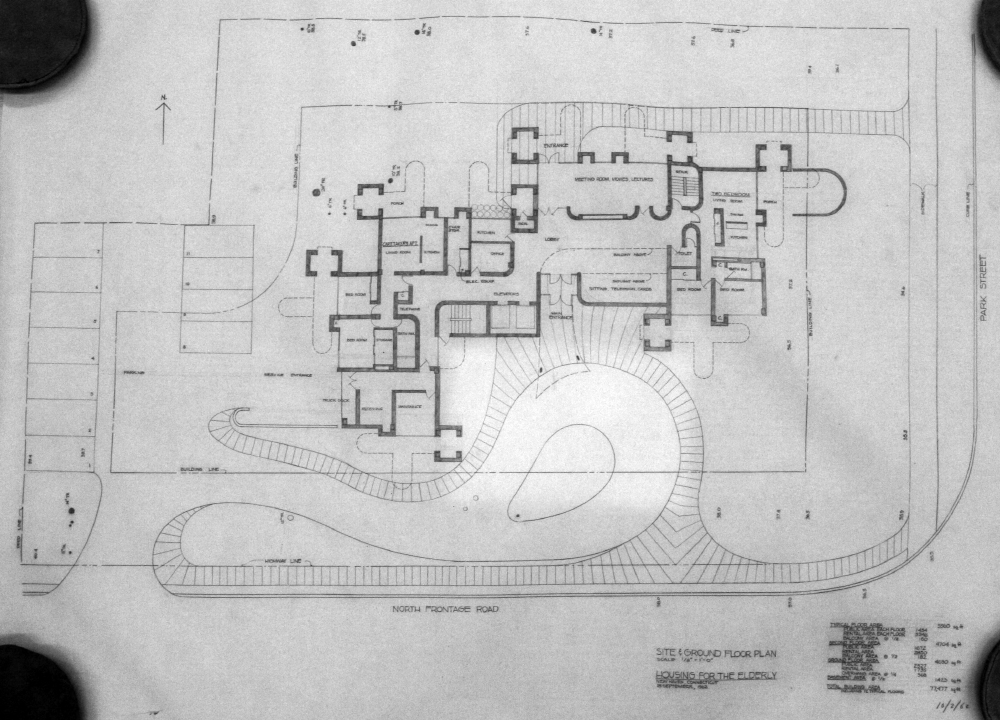 Crawford Manor Housing for the Elderly.  Ground Floor Site Plan.  Dated October 2, 1962.