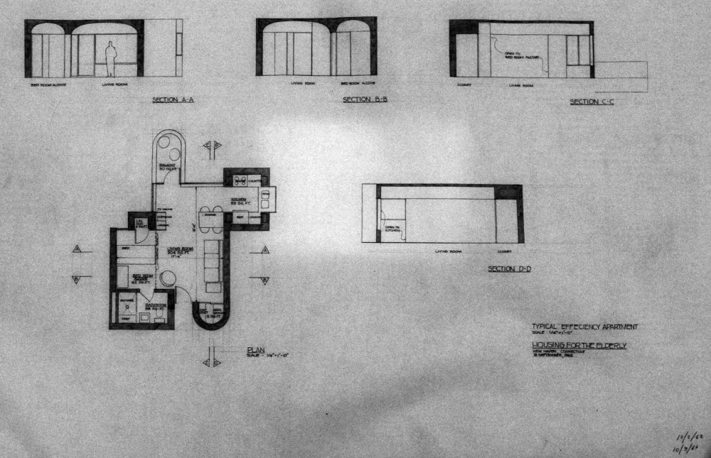 Crawford Manor Housing for the Elderly.  Typical Efficiency Apartment Floor Plan.  Dated October 9, 1962.