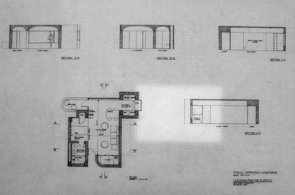 Crawford Manor Housing for the Elderly.  Typical Efficiency Apartment Floor Plan.  Dated October 25, 1962.