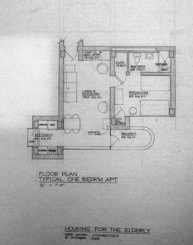 Crawford Manor Housing for the Elderly.  Typical One Bedroom Apartment Floor Plan.  Dated October 9, 1962.