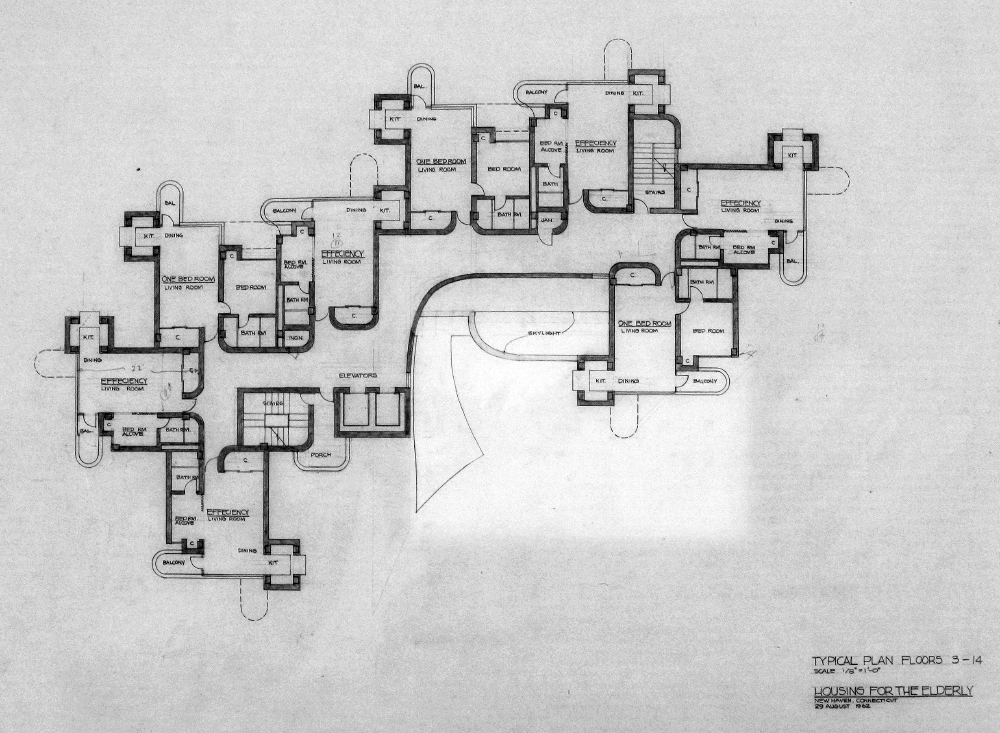Crawford Manor Housing for the Elderly.  Typical Floor Plan - Floors 3-14.  Dated August 29, 1962.