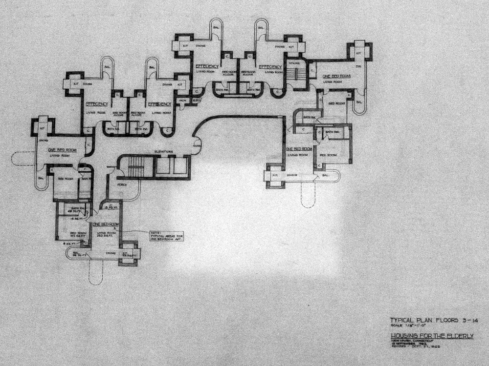 Crawford Manor Housing for the Elderly.  Typical Floor Plan - Floors 3-14.  Dated September 27, 1962.