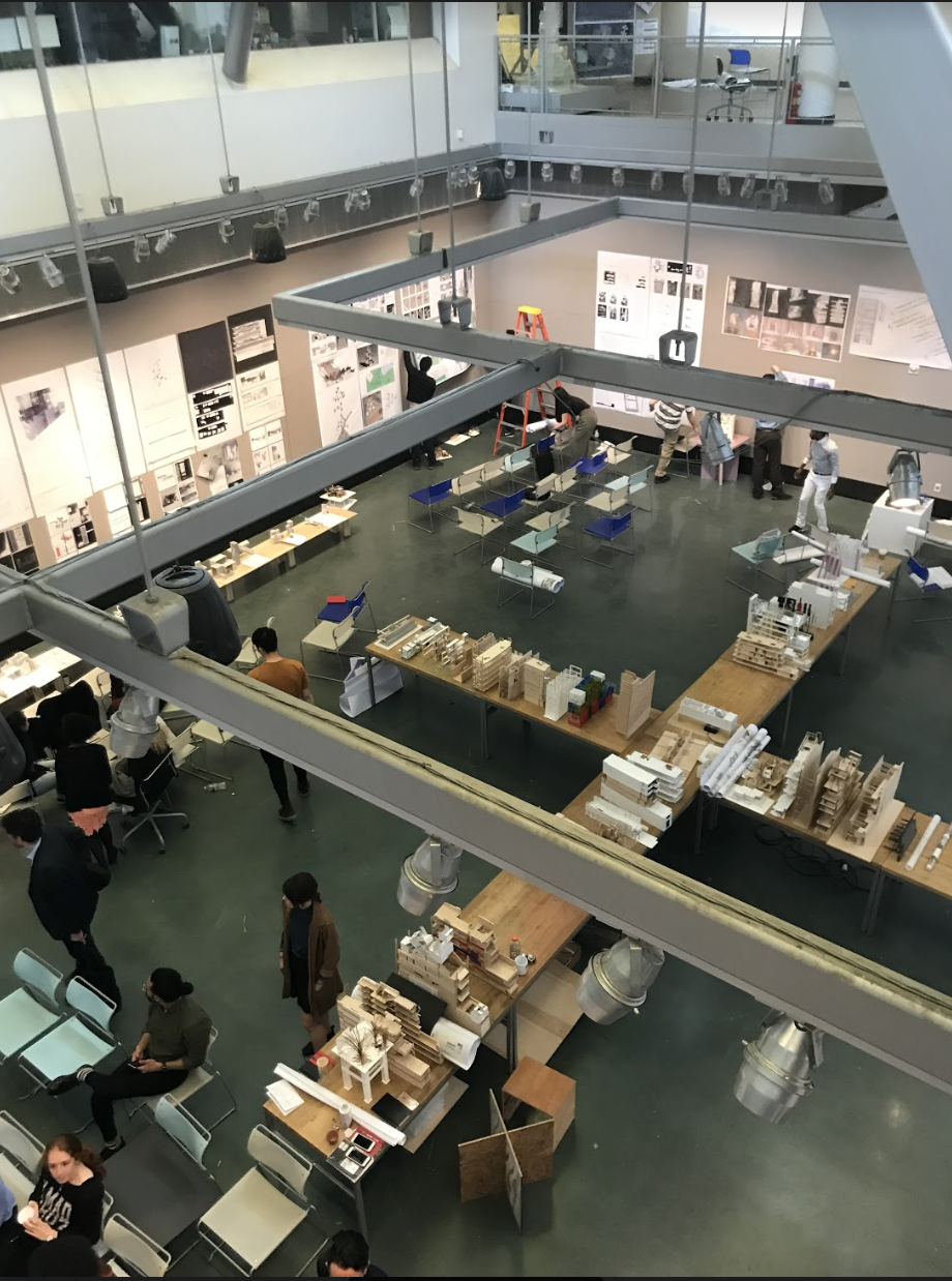 City College's School of Architecture building's central atrium: a view from above, Showing the students work being set up (just prior to the beginning of the end-of-semester jury.) Photo: Kelvin Dickinson for the Paul Rudolph Heritage Foundation